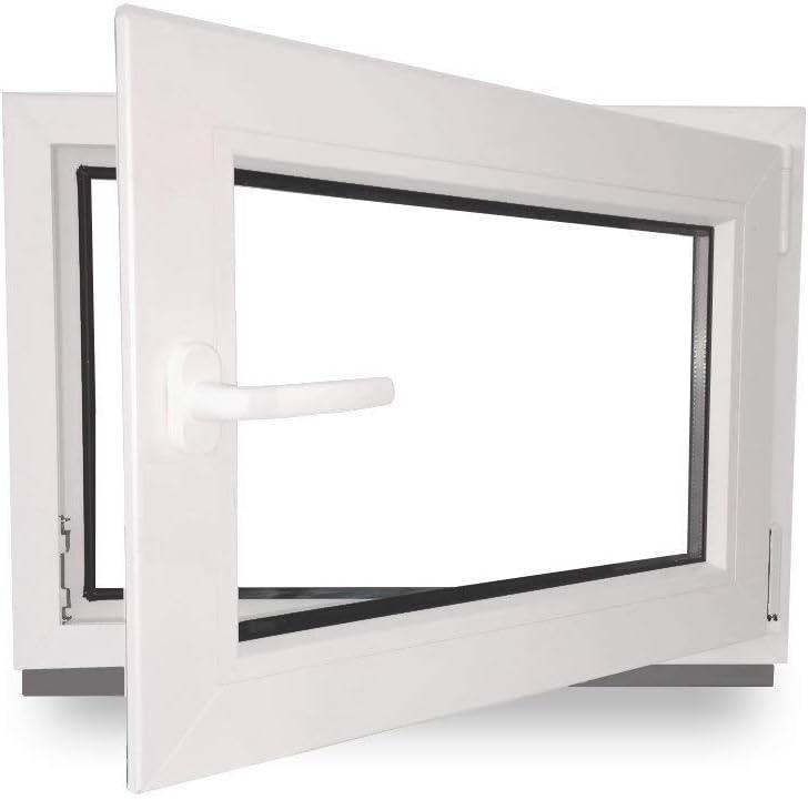 Dreh- /& Kippfunktion 800 x 800 mm BxH: 80 x 80 cm Fenster DIN Rechts innen wei/ß//au/ßen wei/ß Kellerfenster 2 fach Verglasung 60 mm Profil