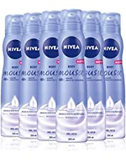 NIVEA Body Mousse Smooth en pack de 6 (6 x 200 ml), mousse de hidratación profunda para piel seca, mousse corporal de rápida absorción con manteca de karité