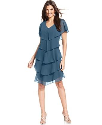 Amazon.com: Patra Short Sleeve Tiered Dress, seafoam, 12 ...