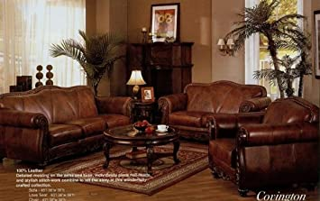 Amazon.com: 2 pc brown leather sofa and love seat set with walnut ...