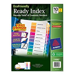 Avery EcoFriendly Ready Index Table of Contents Dividers, 10-Tab, 3 Sets (11082)