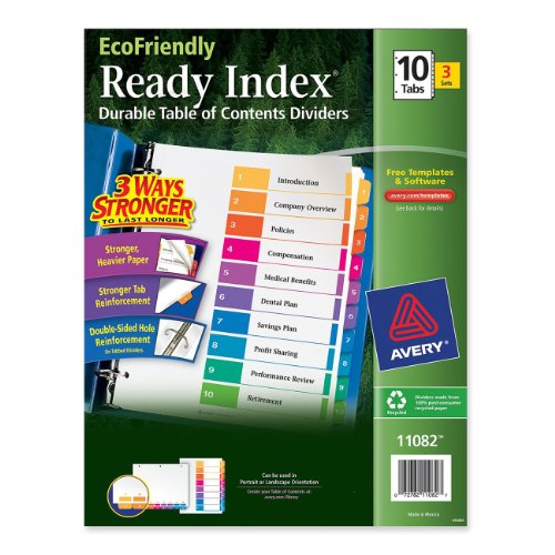 Avery EcoFriendly Contents Dividers 11082