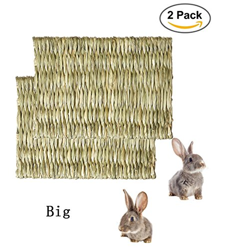 Hkim Rabbit Woven Mat, Natural Safe Hideaway Durable Chew Toy Mat Bed for Bunny /Hamster/Chinchillas/Guinea pigs/Ferret/Small Pets(2 (Hideaway Mat)