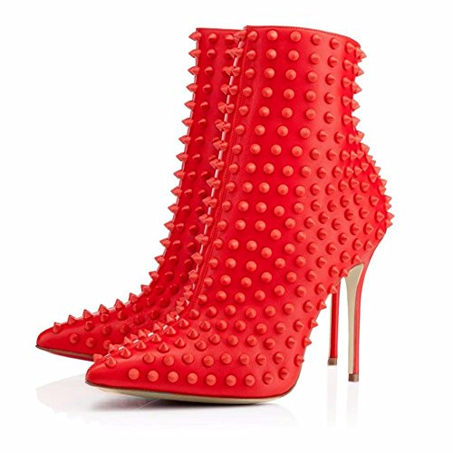 NVXIE Women Ladies Ankle Boots Stiletto Heel Shoes Leather Pointed Rivet Black Red Autumn Winter RED-EUR39UK665 dw2VyO