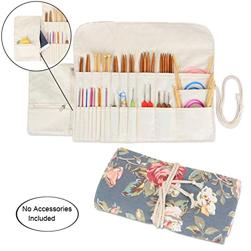 Teamoy Knitting Needles Holder Case(up to 11 Inches), Cotton Canvas Rolling Organizer for Straight and Circular Knitting Needles, Crochet Hooks and Accessories, Peony - NO Accessories Included