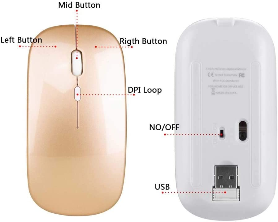 TONGZHENGTAI Rechargeable Wireless Mouse ABS Mute 2.4Ghz Office Mouse 500 MAh Built-in Battery Slender Rosebush White High Speed