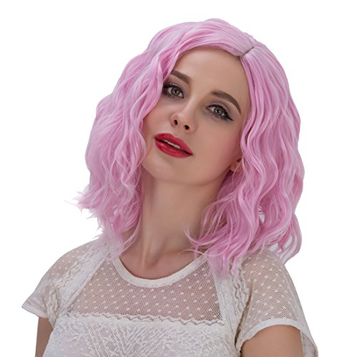 Probeauty Beach Wave Curly Short Wig (Pink) (Short Pink Wig)