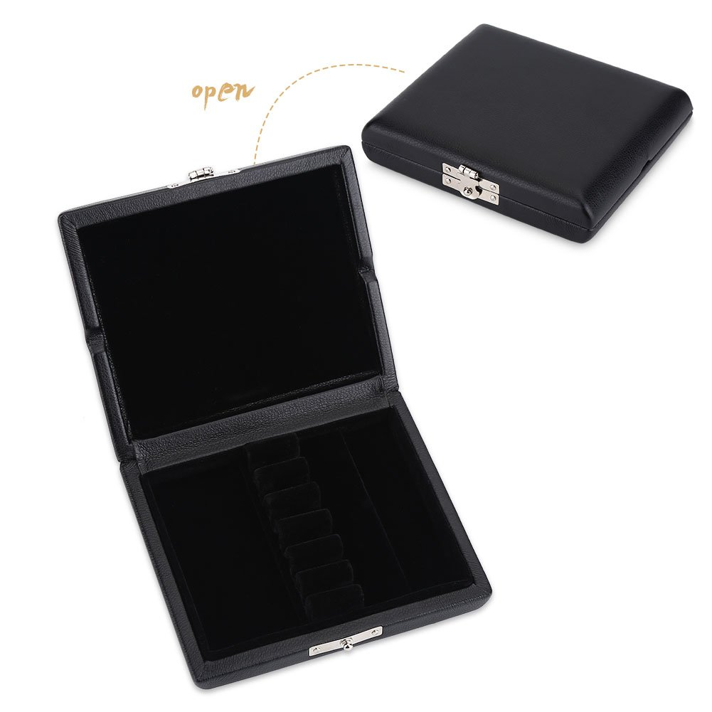 Dilwe Oboe Reed Case, Wooden & PU Leather Cover Oboe Reed Storage Holder Container Box Protector Bag with Slots for 6pcs Oboe Reeds