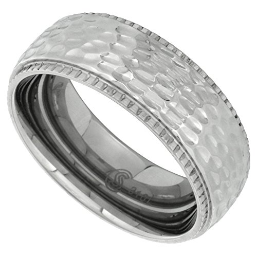 Surgical Stainless Steel 8mm Milgrain Hammered Wedding Band Ring Domed Comfort-Fit, size 11.5