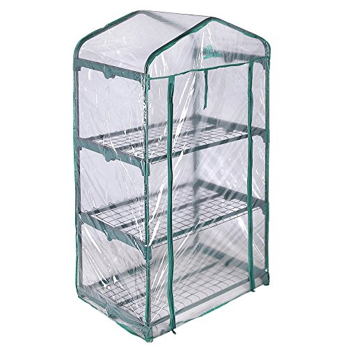 - Palm Springs 3 -Tier Mini Greenhouse with Cover and Roll-up Zipper Door