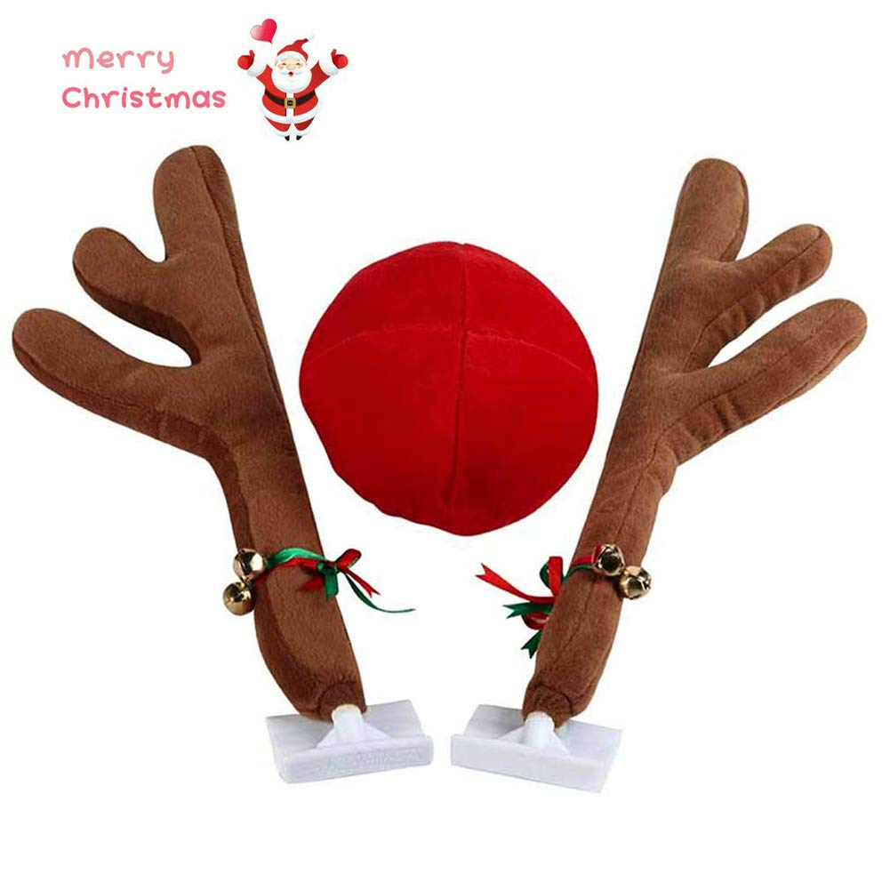 Banucky Christmas Reindeer Antlers Car Decoration, Car Antlers & Nose with Jingle Bell Auto Accessories