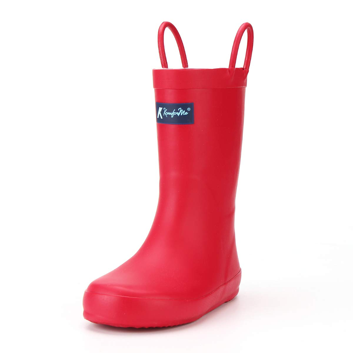 KomForme Kids Rain Boots, Waterproof Rubber Matte Boots with Reflective Stripes and Easy-on Handles