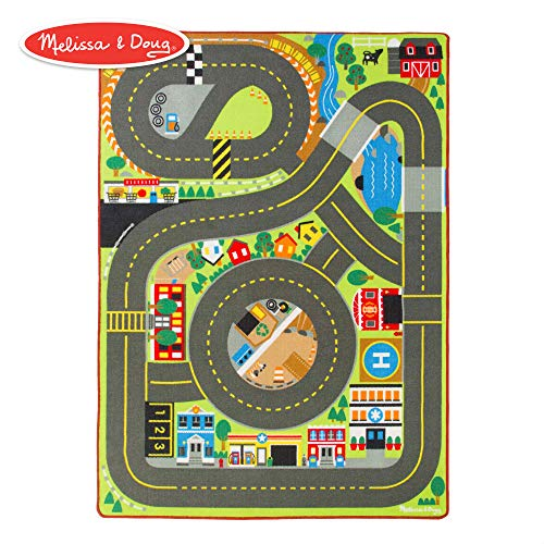 (Melissa & Doug Jumbo Roadway Activity Rug (4 Wooden Traffic Signs, Oversized Multi-Roadway Activity Rug, Soft, Durable Material, 79
