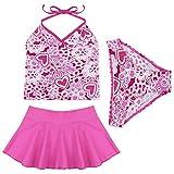 iiniim 3pcs Girls Hot Pink Halter Top Swimsuit Swimwear Tankini Set Swimming Costumes (8-10 Years, Purple)
