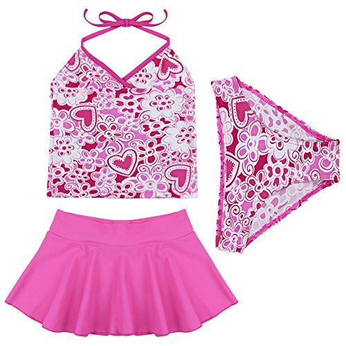 Freebily 3Pcs Girls Hot Pink Tankini Swimsuit Set Swimwear Halter Tops Bottoms Skirts
