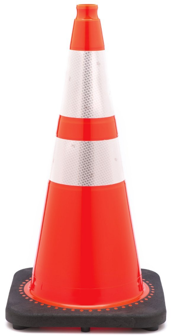 (Set of 8) JBC Safety Plastic 28'' Orange Safety Traffic PVC Cones Black Base with Two Reflective Collar Tapes