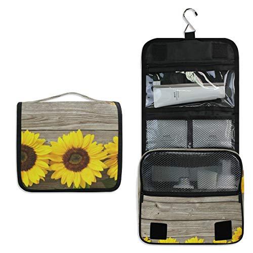 Wooden Sunflowers Hanging Travel Toiletry Bag for Women Men | Hygiene Bag -