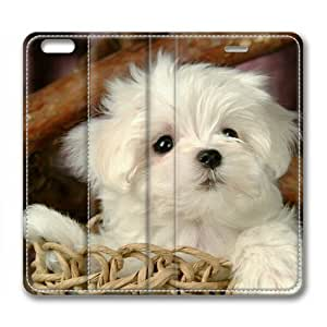Armener Leather Protective Skin Case Cover For iPhone 6 Plus (5.5 inch) With Lovely White Puppy Dog-1 wangjiang maoyi by lolosakes