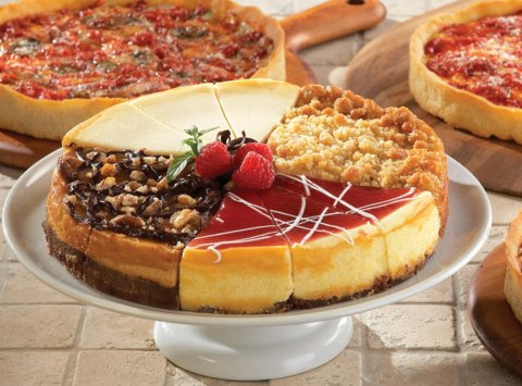 1 Eli's Sampler Cheescake & 1 Lou Malnati's Chicago-Style Deep Dish Pizza (Cheese)