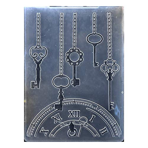(Kwan Crafts Clock Key Plastic Embossing Folders for Card Making Scrapbooking and Other Paper Crafts, 10.5x14.5cm)