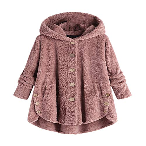 Sunmoot Hooded Faux Fur Coats for Women Long Teddy Bear Jacket Button Fluffy Pullover Loose Sweater ()