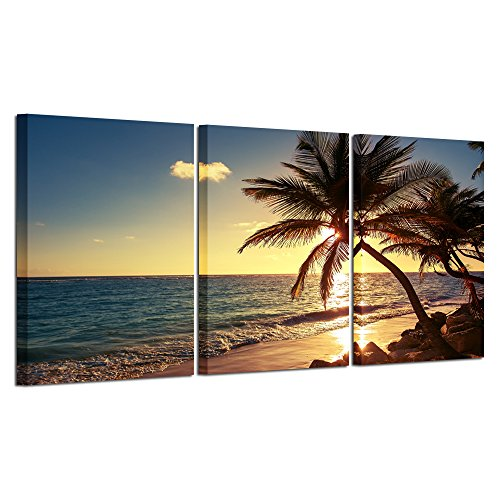 Hello Artwork - Sunset Beach Palm Tree Multi Panel Seascape Giclee Canvas Prints on Canvas Wall Art Modern Stretched and Framed Pictures Paintings Artwork for Home Decor (3Panel)