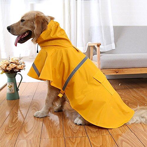 Dog Rain Slicker - OCSOSO Pet Dog Slicker Raincoat Gear Brite Rain Jackets Dog Cat Hooded with Reflective Band (Yellow, XL Back: 23.6