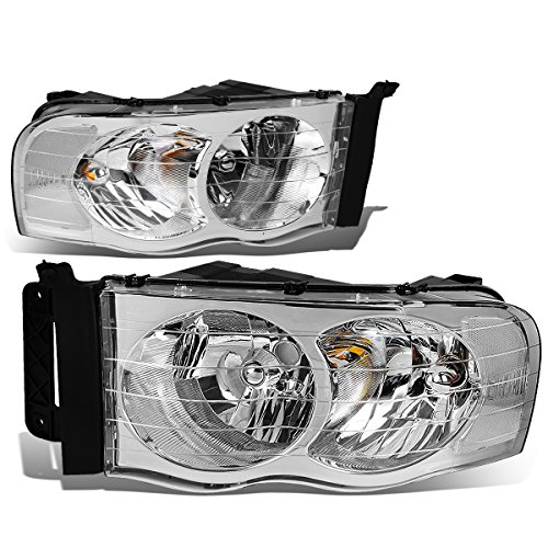 Dodge Ram Chrome Housing - For Dodge Ram Pair of Chrome Housing Headlight Head Lamp Light - 3rd Gen DR/DH/D1/DC/DM