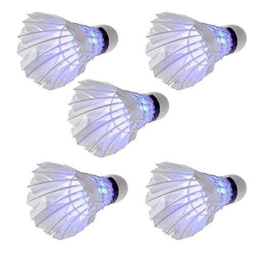 Foxnovo 5st Novelty Sport Dark Night LED Leuchten beleuchtete Badminton Birdies Federball (Blau Licht)