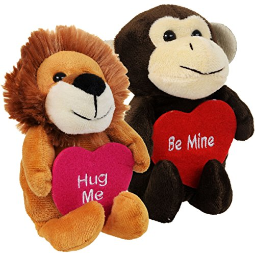 Valentine's Cuddly Plush Lion and Monkey - Adorable Holding