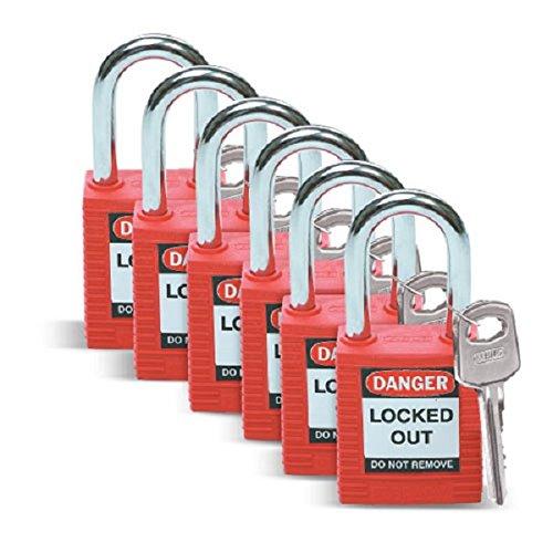 Brady Safety Padlock, Red (6 Pack)