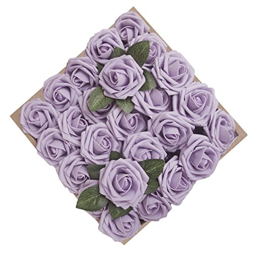 Long Stem Lilac - Umiss Dinopure Wedding Bouquet 50pcs Artificial Flowers White Real Touch Artificial Roses Bouquets Centerpieces Wedding Party Baby Shower DIY Decorations (Lilac)