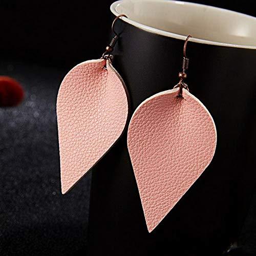 (Waldenn Fashion Boho Leather Leaf Teardrop Drop Dangle Earrings Hook Women Jewelry Gift | Model ERRNGS - 12415 |)