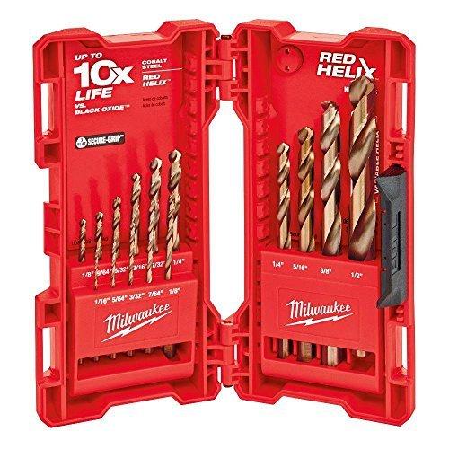 Milwaukee 48-89-2331 15-Piece Cobalt Red Helix Secure Grip Drill Bit Set w/Hard Plastic Foldout Storage Case by Milwaukee