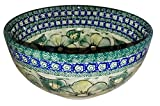 Polish Pottery Mixing or Serving Bowl Unikat Green Garden
