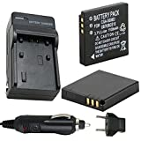 Battery (2-Pack) and Charger for Ricoh Caplio R6, R7, R8, R10, CX1, CX2 Digital Camera