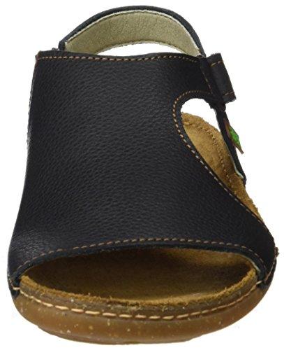 El Naturalista Women's N309 Soft Grain Black/Torcal Flat Sandal Black Kf8MUh