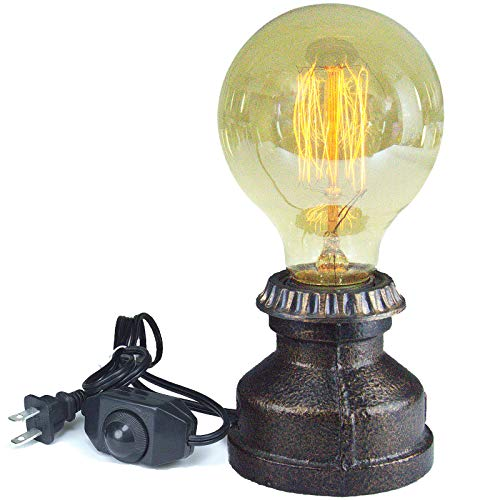 Vintage Table Lamp Holder with Dimmer Switch, E26 Iron Lamp Base, Industrial Desk Lamp Holder, Steampunk Accent Lamp with E26 Edison Base, Decoration for Bedroom/Living Room (Bulb Not Included)