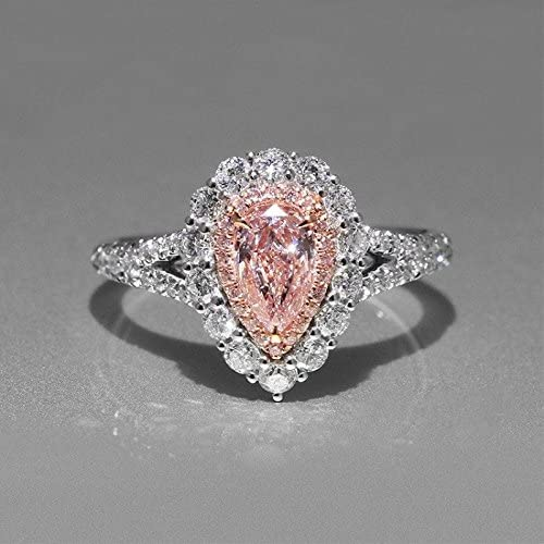 ADORABLE 1 CT ROUND PINK 925 STERLING SILVER RING SIZE 5-10