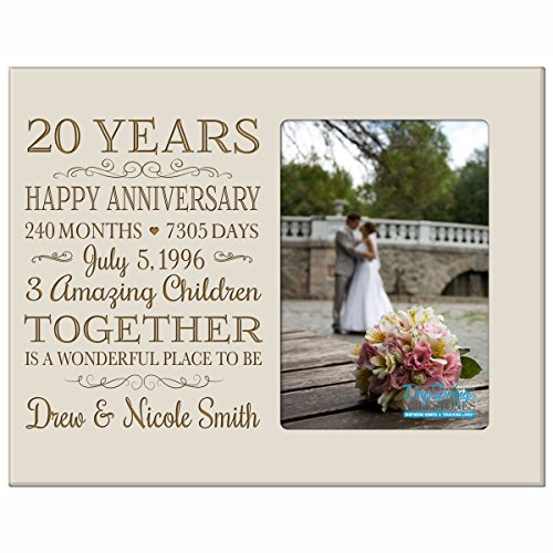 Personalized Twenty year anniversary gift for her him couple Custom Engraved wedding gift for husband wife girlfriend boyfriend photo frame holds 4x6 photo by DaySpring International (ivory)