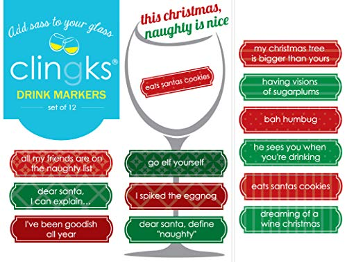 Clingks 12 Drink Markers - THIS CHRISTMAS NAUGHTY IS NICE - Fun Alternative to Wine Charms