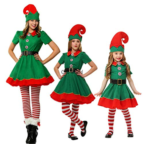 WAOBE Navidad Elf Trajes, Mujeres, Hombres, Chico Y Chica Adulto ...