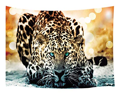 KOTOM Tiger Leopard Tapestry, Wildlife Nature Safari Jungle African Big Cat, Wall Art Hanging Blankets Home Decor Bedroom Living Room Dorm, 60X40 -