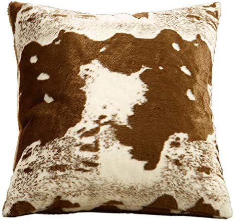 Fennco Styles Rustic Faux Fur Cow Hide 28 x 28 Inch Decorative Throw Pillow with Case Insert Brown Fur Pillow for Couch, Bedroom and Living Room D cor
