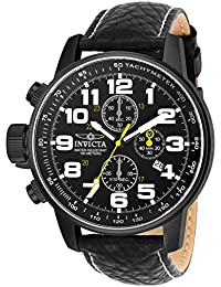 Men's 3332 Force Collection Stainless Steel Left-Handed Watch with Black Leather Band