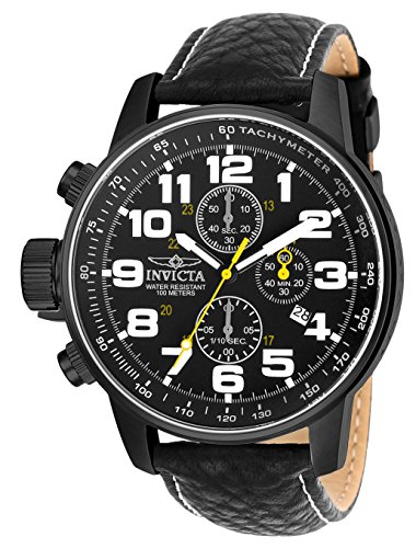 Invicta Men's 3332 Force Collection Stainless Steel Left-Handed Watch with Black Leather Band ()