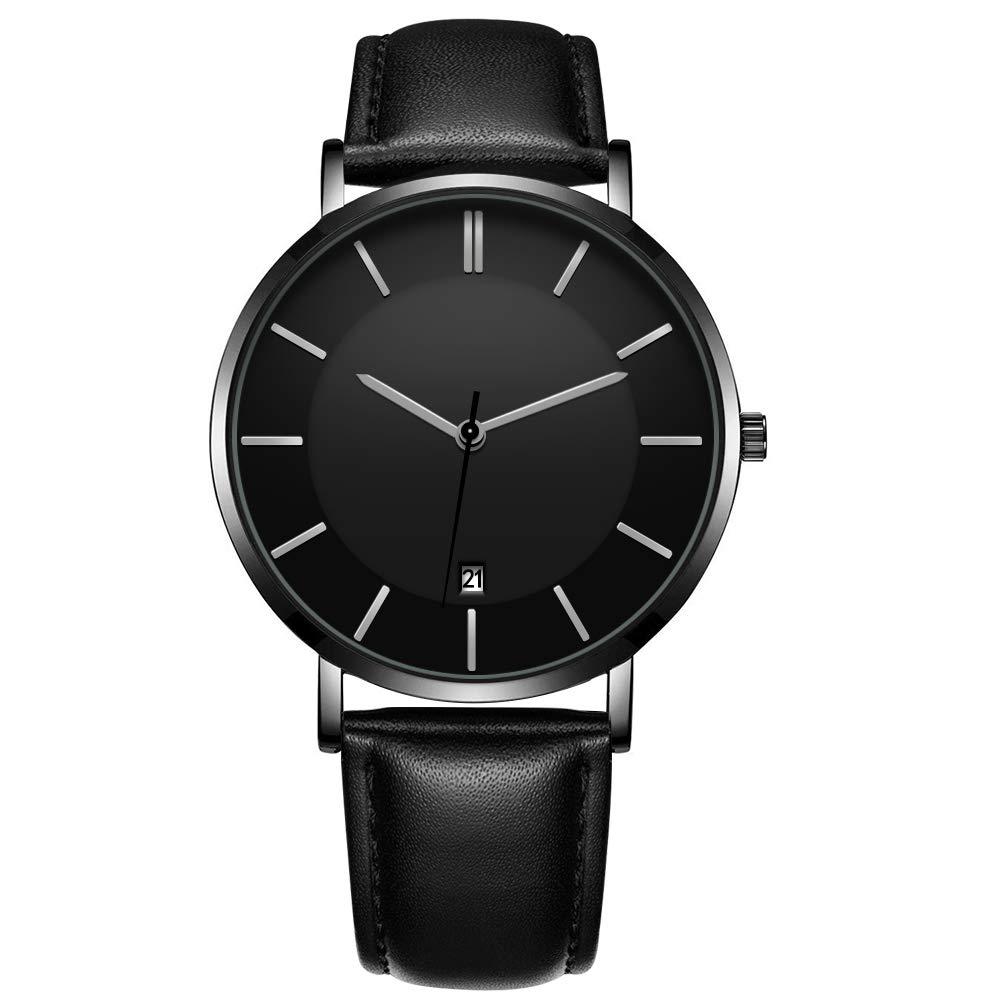 Godagoda - Reloj de Cuarzo Unisex de Estilo Simple con Esfera clásica y Retro, Piel sintética