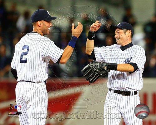 Derek Jeter & Ichiro Suzuki New York Yankees Photo 8x10