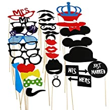 Pixnor 33pcs DIY Funny Photo Booth Props Kit Favor Including Mustaches Glasses Bows Hats Lips Ties Crowns for Party, Wedding, Birthday Favor, Graduation