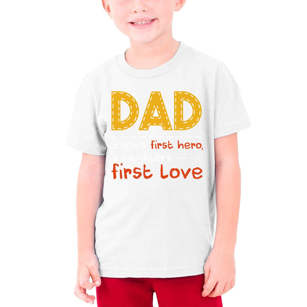 Dad A Sons First Hero A Daughters First Love Boys Short-Sleeved T-Shirt